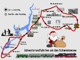 BEF Streckenkarte Adventsfahrt Schwielowsee ab BLO